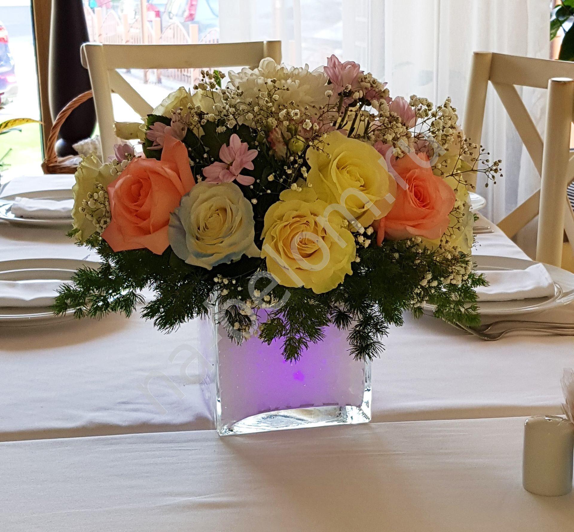 Композиции из цветов на столы гостей фото