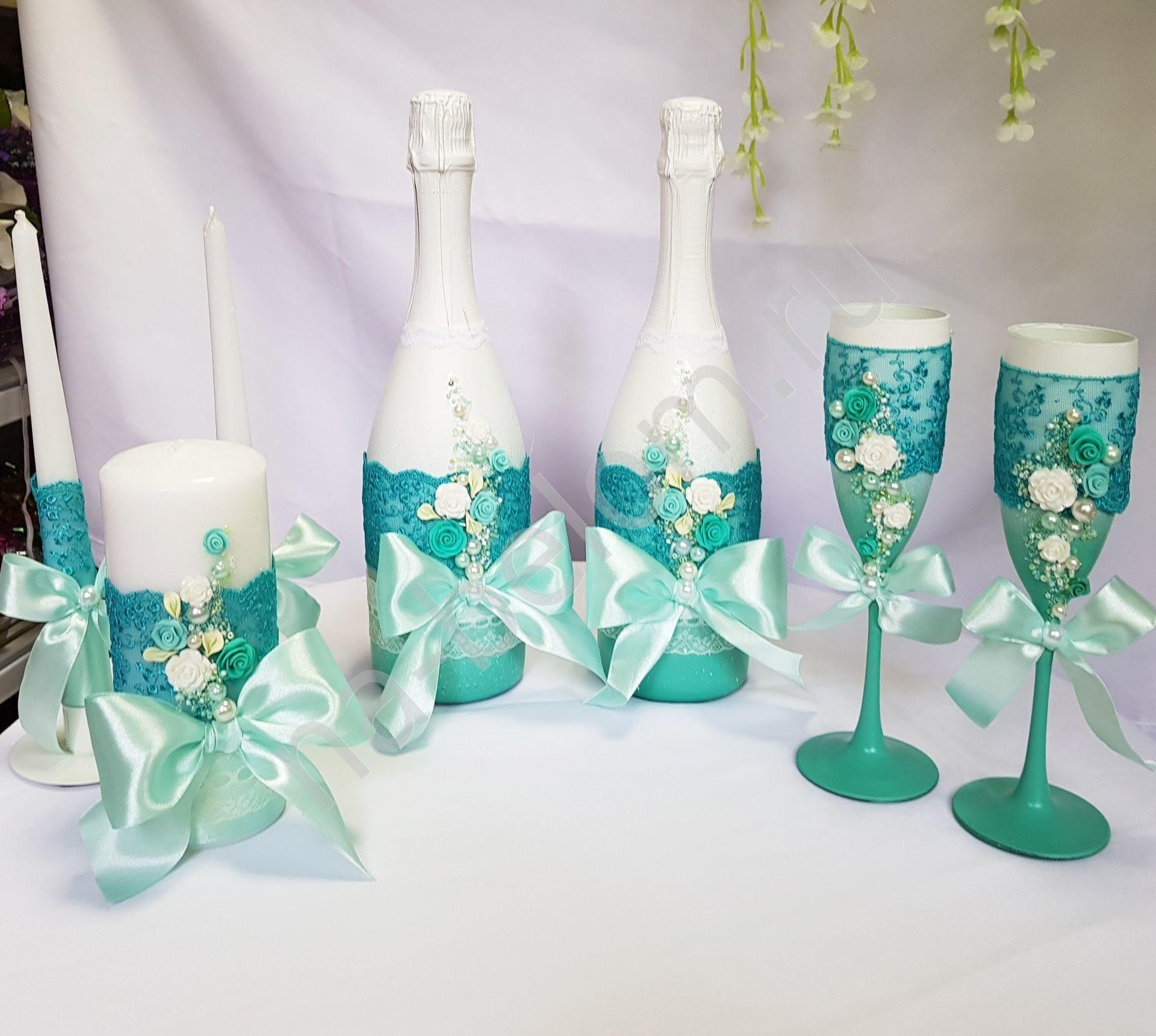 Украшение бутылок шампанского на свадьбу своими руками. Мастер-класс с фото