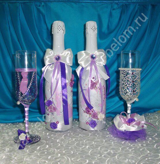 Бутылки и бокалы на свадьбу пошагово