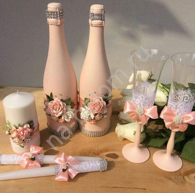Бокалы бутылки свечи на свадьбу своими руками 50